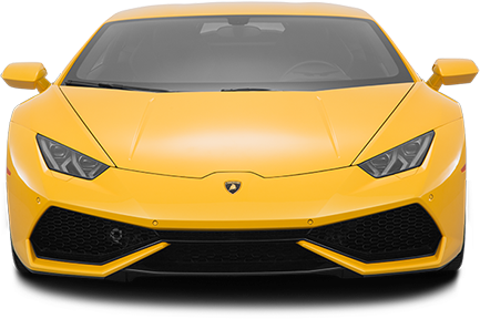 A front profile photo of a yellow Lamborghini Hurracan