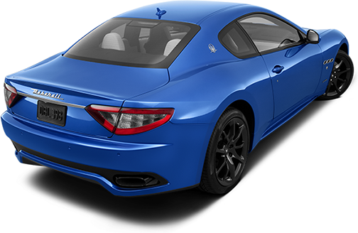 A rear offset photo of a blue 2013 Maserati Gran Turismo (Coupe)