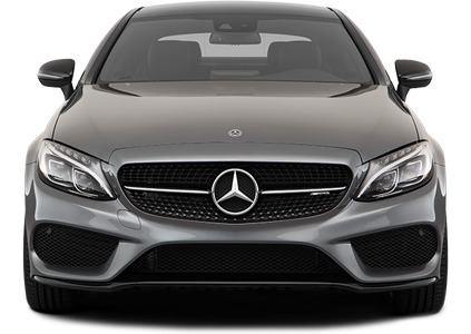 A front profile photo of a grey 2018 Mercedes AMG C43 (Coupe)