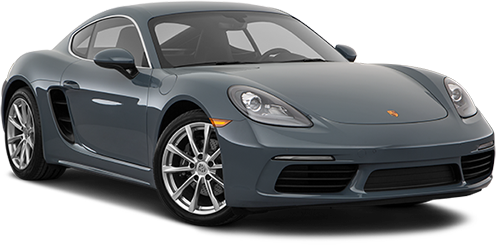 A three-quarters photo of a grey 2018 Porsche 718 Cayman (Coupe)